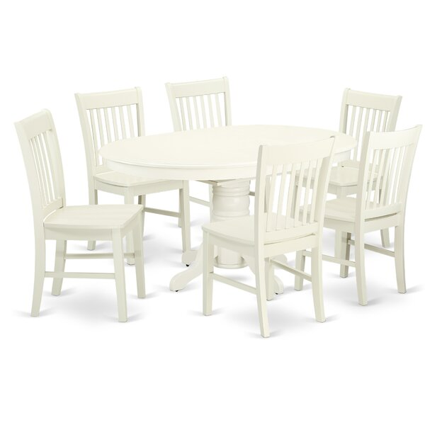 Emmaline 7 Piece Solid Wood Dining Set by Alcott Hill Alcott Hill