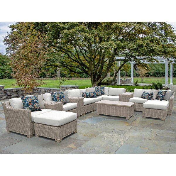 Claire 14 Piece Rattan Sectional Seating Group with Cushions by Rosecliff Heights