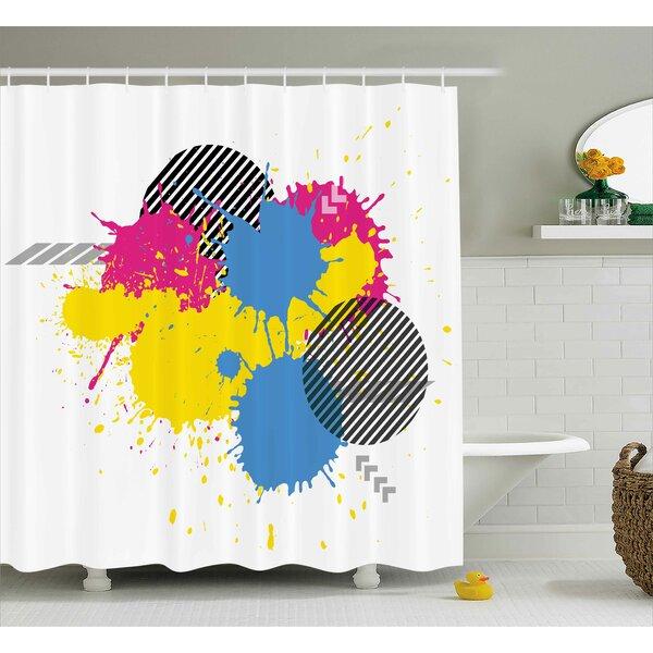Reyna Vector Colorful Splatter Grunge Ink Splatter Illustration Decorative Circles Art Shower Curtain by Ebern Designs