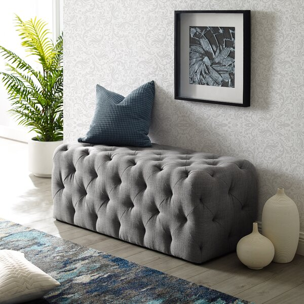 Prescot Upholstered Bench by Everly Quinn Everly Quinn