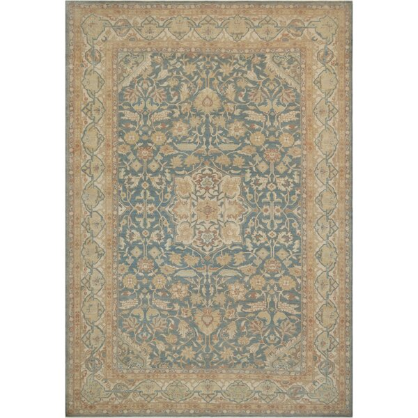 One-of-a-Kind Genuine Amritzar Hand-Knotted Wool Blue/Beige Indoor Area Rug by Mansour