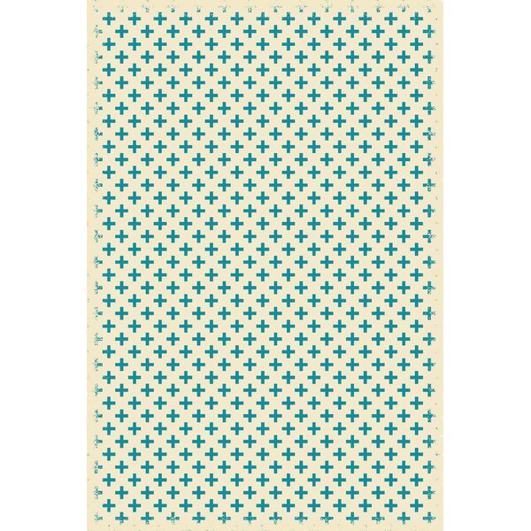 Frakes Elegant Cross Teal/White Indoor/Outdoor Area Rug by Wrought Studio