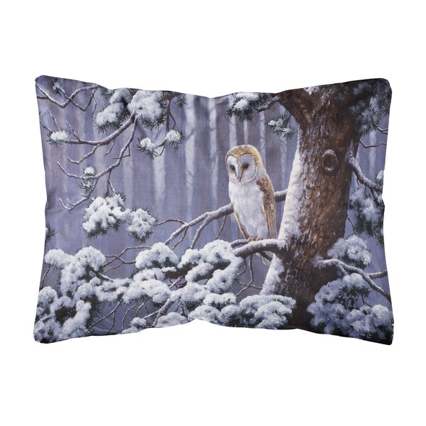 Siegle Owl on a Tree Branch in the Snow Fabric Indoor/Outdoor Throw Pillow by Winston Porter