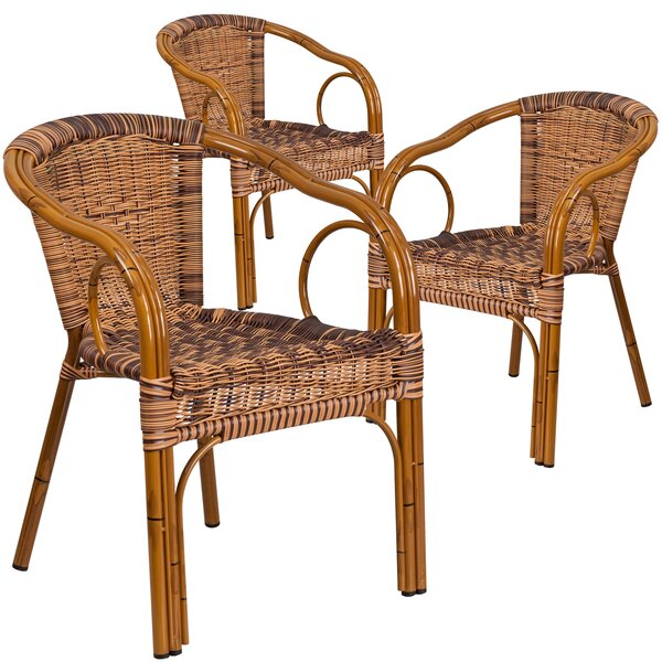 Keyla Rattan Restaurant Patio Chair (Set of 3) by Mistana