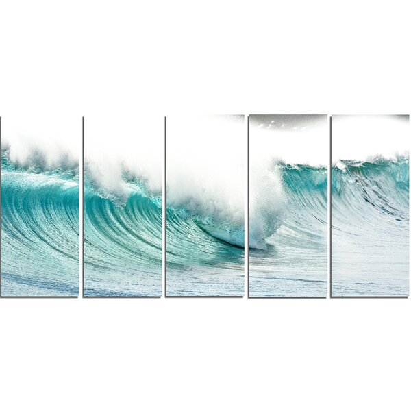 Massive Blue Waves Breaking Beach 5 Piece Photographic Print on Wrapped Canvas Set by Design Art