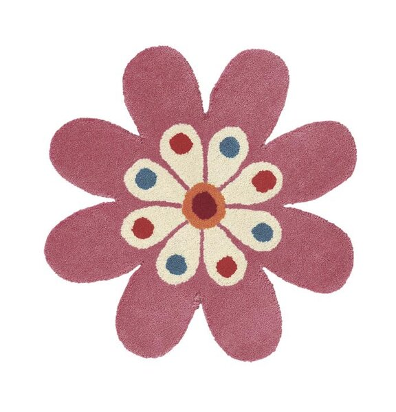 Fantasia Hand-Tufted Wool Light Pink Flower Area Rug by Dynamic Rugs