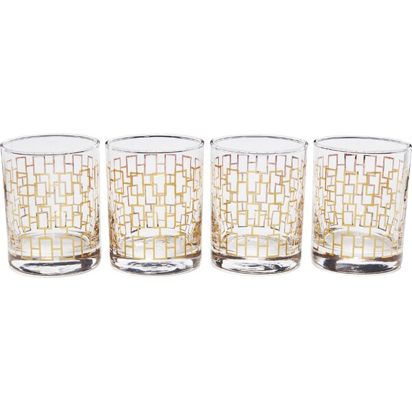 Gold Chain Link Decaled 11.85 oz. DOFs Glass (Set of 4) by Circle Glass