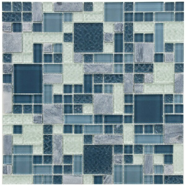 Sierra Random Sized Glass/Stone Mosaic Tile in Versailles Gulf by EliteTile