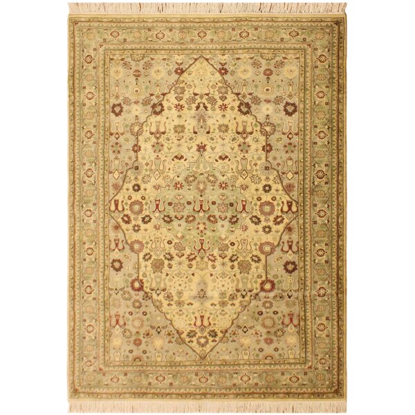 One-of-a-Kind Abequa Tabriz Hand-Knotted Wool Ivory/Light Green Area Rug by Isabelline