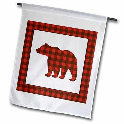 "3dRose Buffalo Plaid Bear Polyester 23"" x 16"" Garden Flag"