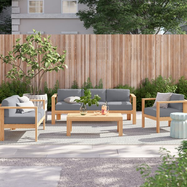 Gillian 4 Piece Teak Sunbrella Sofa Seating Group with Cushions by Foundstone