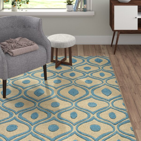 Ella Hand-Tufted Blue/Cream Area Rug by Langley Street