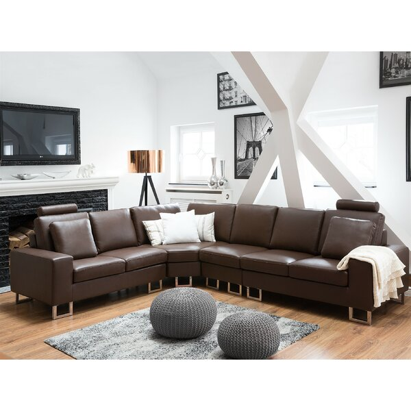 Karlo Leather Reversible Sectional by Orren Ellis