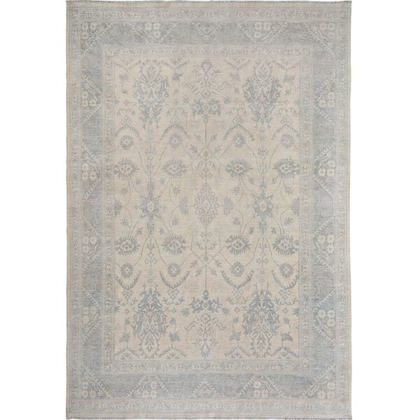 One-of-a-Kind Adesha Hand-Knotted New Age Oushak Beige/Gray 11'10 x 14'11 Wool Area Rug