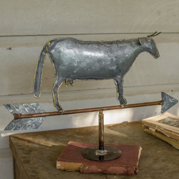 Table Top Cow Weathervane Figurine by August Grove