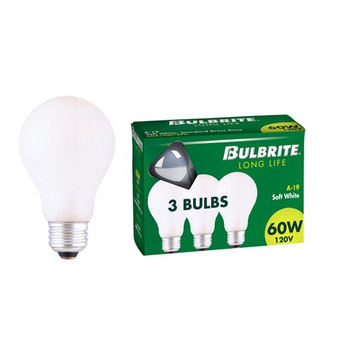 25W General Service A19 Incandescent Bulb in Soft White (Pack of 3) (Set of 20) by Bulbrite Industries