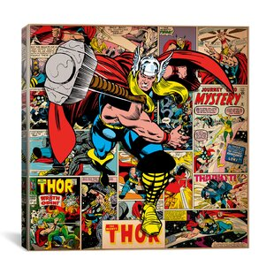 Awesome Marvel Comics Book Thor Covers And Panels Graphic Art On Wrapped Canvas