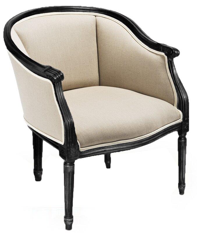 Pull Up Nero Linen Flax Barrel Chair By Sarreid Ltd
