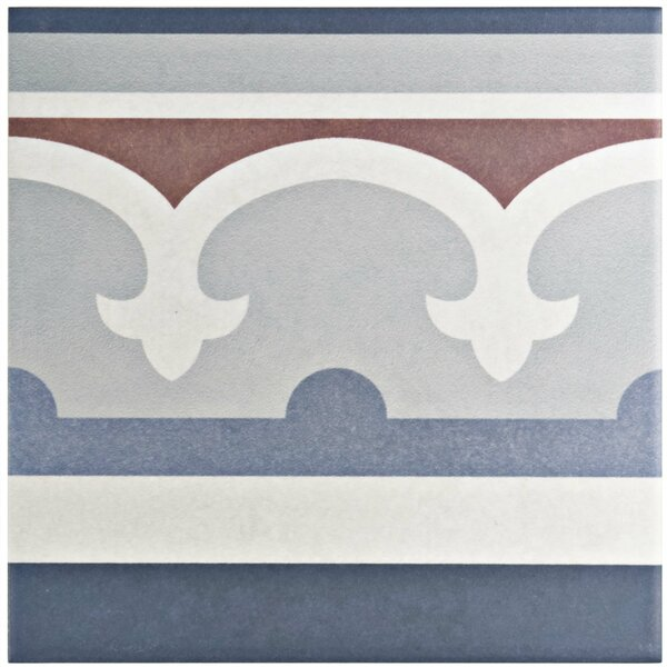 Grotta 7.88 x 7.88 Porcelain Field Tile in Blue/Red by EliteTile