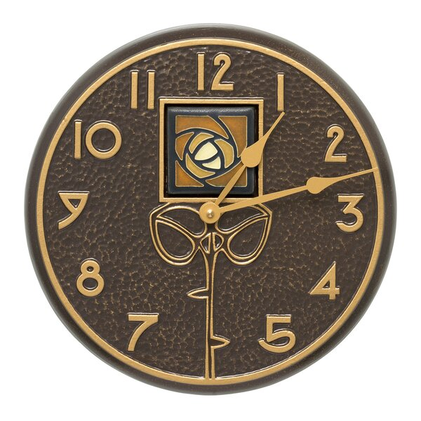 12 Dard Hunter Rose Indoor/Outdoor Wall Clock by Whitehall Products