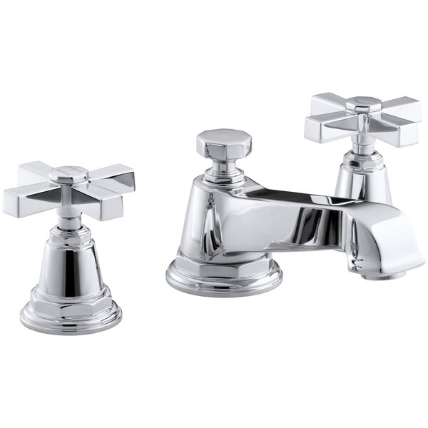 Pinstripe Pure Widespread Bathroom Sink Faucet with Cross Handles by Kohler