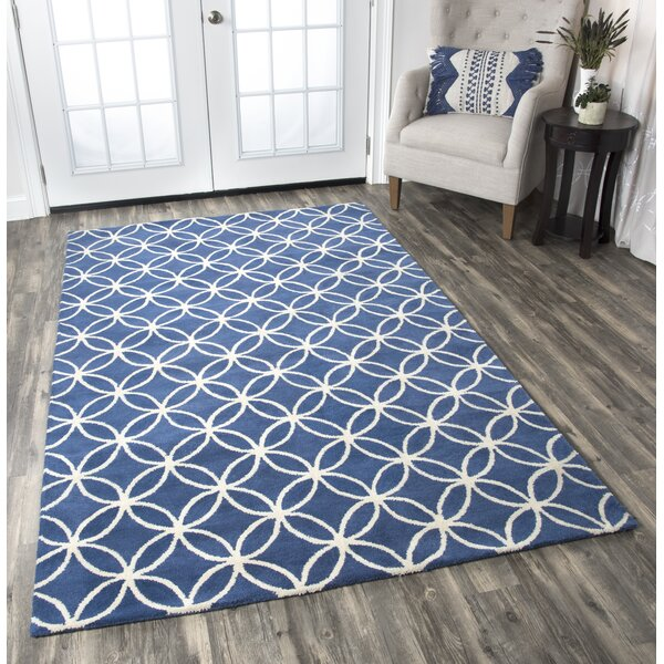 Kenzie Navy & Parchment Hand-Woven Wool Area Rug by Birch Lane™