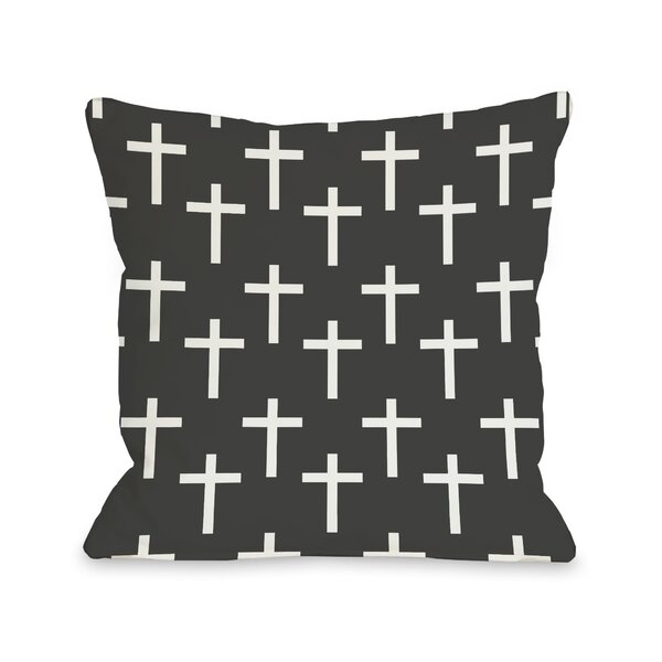 All Over Cross Print Throw Pillow by One Bella Casa