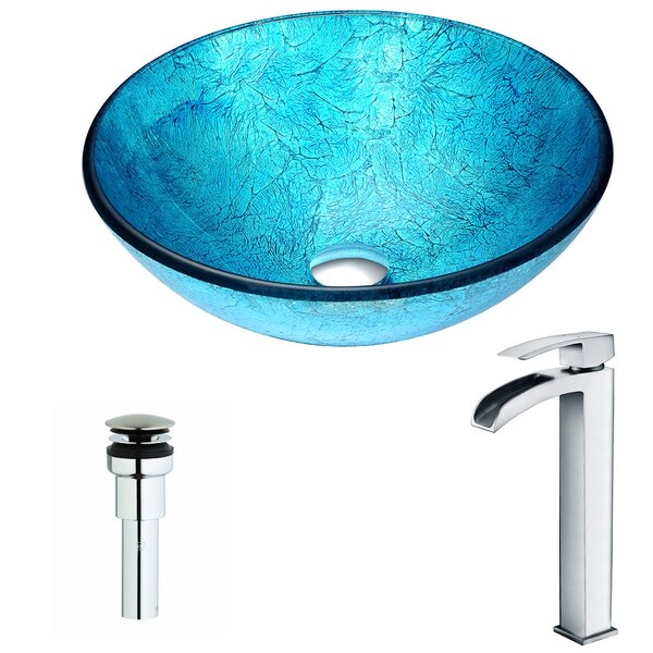 Accent Glass Circular Vessel Bathroom Sink with Fa