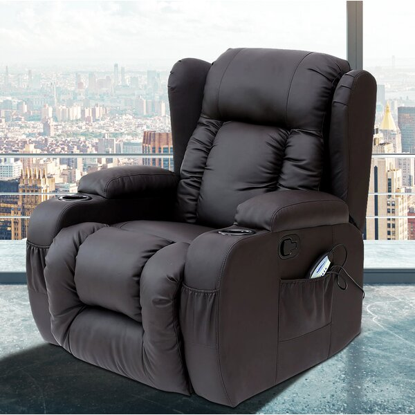 Idaho Leather Reclining Heated Massage Chair [PDAE Inc ]