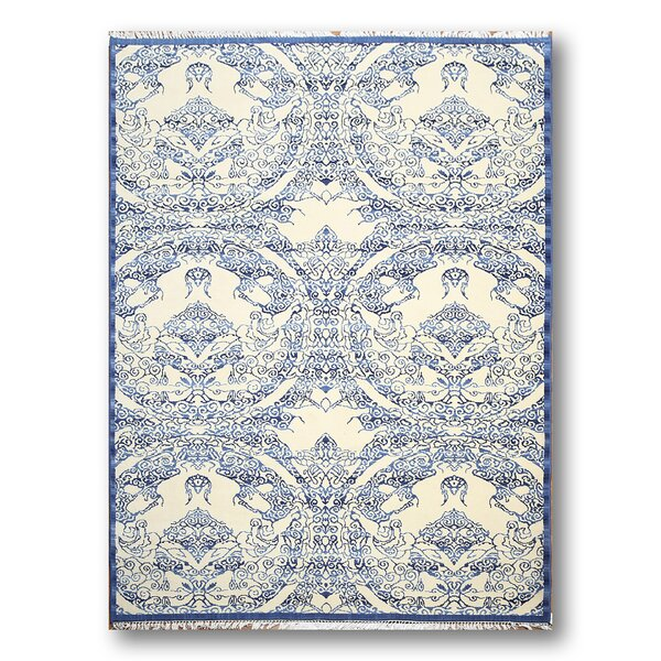 Griswold Wool Off White/Blue Area Rug by Canora Grey