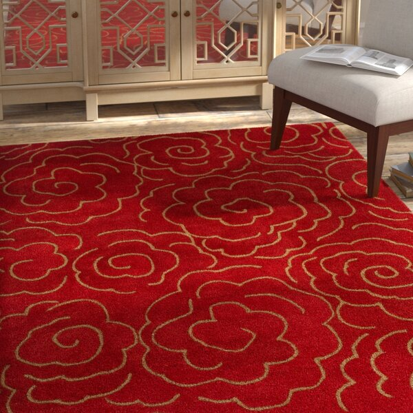 Karuna Hand-Tufted Red Area Rug by Bloomsbury Market