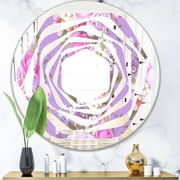 Pattern with Country Roses Whirl Cottage Americana Frameless Wall Mirror
