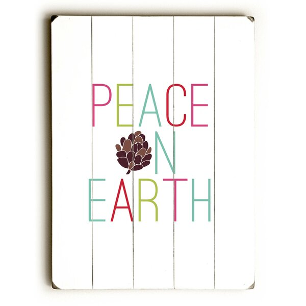 Peace on Earth Pine Cone Graphic Art Plaque by The Holiday Aisle