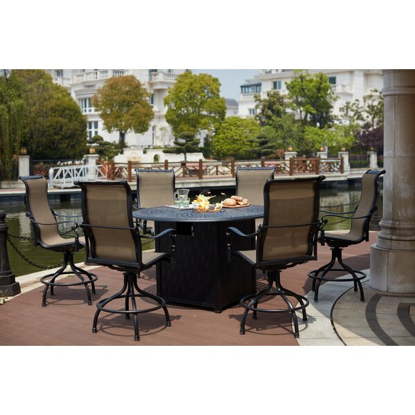 Millman 7 Piece Bar Height Dining Set with Firepit by Canora Grey