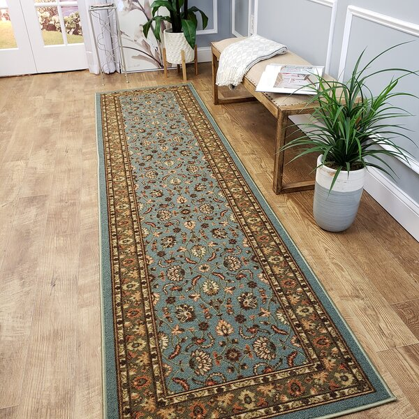 Harland Maxy Home Traditional Floral Ocean Blue Area Rug by Three Posts