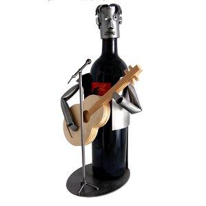 Guitar Player 1 Bottle Tabletop Wine Rack by H & K SCULPTURES