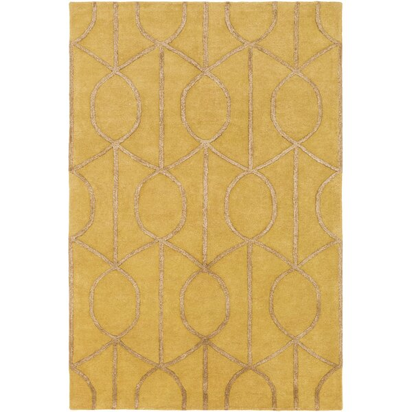Abbey Hand-Tufted Gold Area Rug by Wade Logan