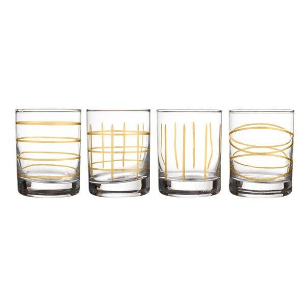 Mcnett Old Fashion 4 Piece Glass 10.5 oz. Stemless Vino Glass Set by Wrought Studio