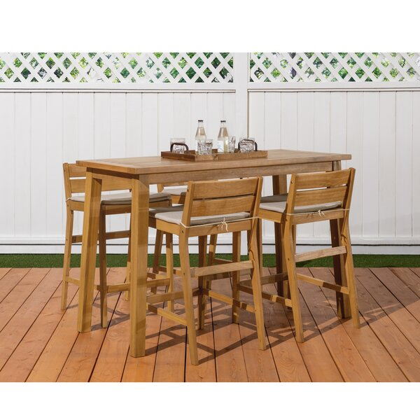 Glisson 5 Piece Teak Bar Height Dining Set with Cushions by Breakwater Bay