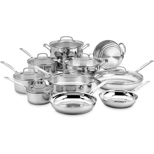 17 Piece Chef S Classic Stainless Cookware Set By Cuisinart.