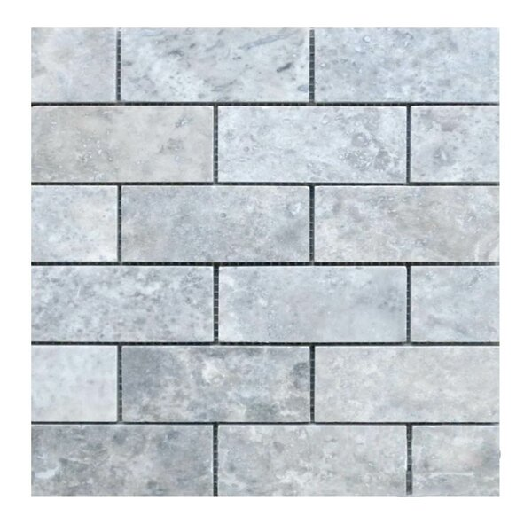 Honed 2 x 4 Natural Stone Mosaic Tile in Silver by QDI Surfaces