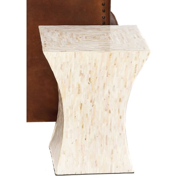 Bernard Mother-of-Pearl Inlay Tapered Accent Table Stool by Urban Designs