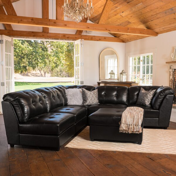 Mccomas Leather Reversible Sectional with Ottoman by Red Barrel Studio