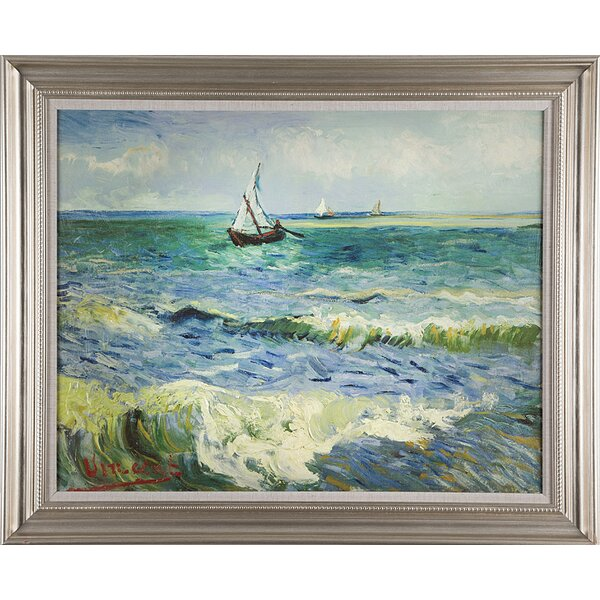 Seascape at Saintes by Vincent Willem van Gogh Framed Painting Print on Wrapped Canvas by Wexford Home
