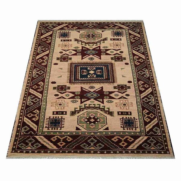 Ferry Hand-Knotted Wool/Silk Cream/Burgundy Area Rug by Astoria Grand