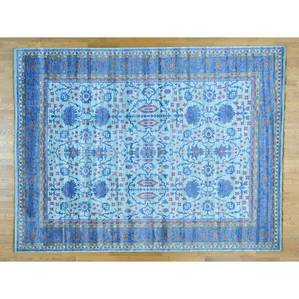 One-of-a-Kind Bearer Hand-Knotted Blue Silk Area Rug by Isabelline