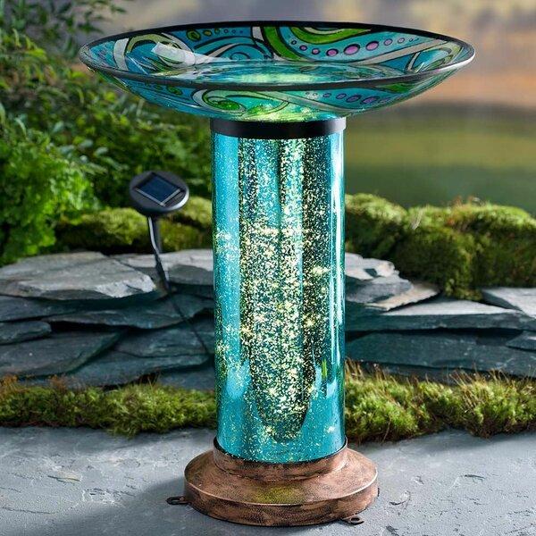 Fish-Motif Solar and Lighted Birdbath by Wind & Weather