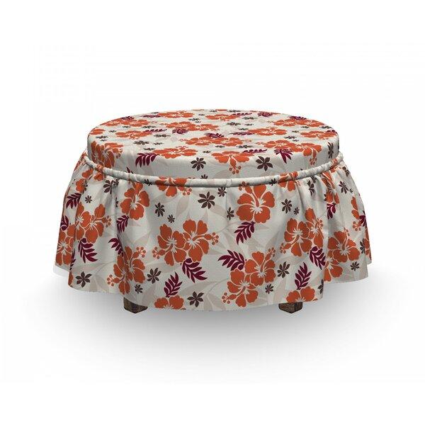 Hawaii Aloha State Foliage 2 Piece Box Cushion Ottoman Slipcover Set By East Urban Home