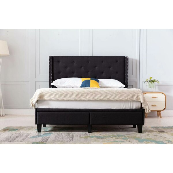 Reinaldo Studded Winged Queen Upholstered Storage Sleigh Bed by Red Barrel Studio
