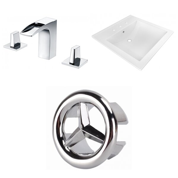 Ceramic Rectangular Drop-In Bathroom Sink with Faucet by American Imaginations